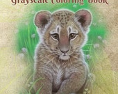 PDF of Animals and Baby Animals Grayscale Coloring Book--26 Coloring Pages-Revised with Lighter Coloring Pages