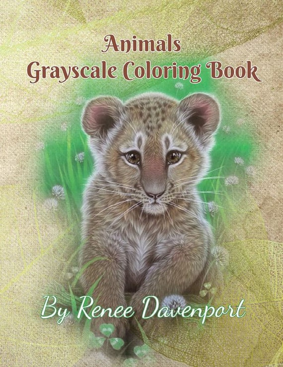 PDF of Animals and Baby Animals Grayscale Coloring Book--26 Coloring Pages