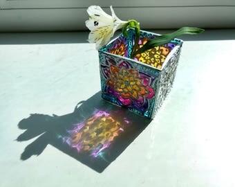 Stained glass vase, decorative vase, glass candle holder, glass decor, glass vase, hand painted glass, flower art