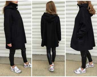 High Collar Wool Jacket / Winter Wool Hooded Cape Coat / Long Sleeve Tined trench Coat / Jacket for Women/ MD 10002