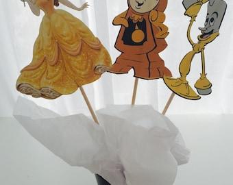 3 Piece Beauty and the Beast Disney Princess Centerpiece, Princess Birthday, Princess Party Decor, Princess Decorations, Topper, Centerpiece