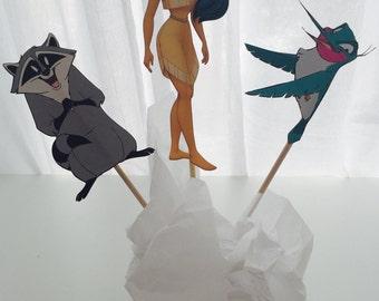 3 Piece Pocahontas Disney Princess Centerpiece, Princess Birthday, Princess Party Decor, Princess Decorations, Topper, Centerpiece