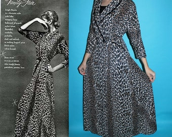 Vintage 50s 60s Vanity Fair LEOPARD Velvet Buttons Lingerie Dressing Gown Robe 36 S/M