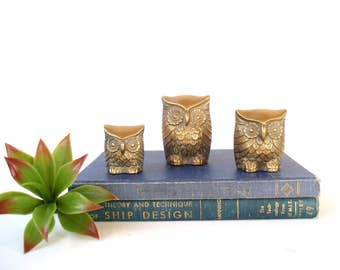Brass Owl Family Trio/ Vintage Solid Brass Owls/ Set of 3/ Brass Figurines/ Instant Collection/ Brass Birds/ Boho Decor/ Hollywood Regency