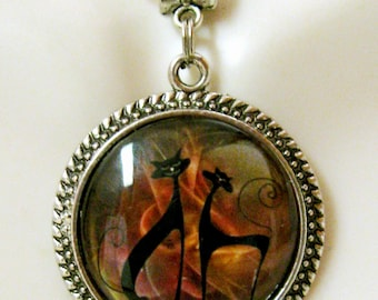 Two cat pendant with chain - CAP05-114