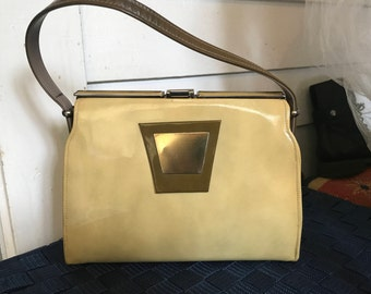 191960s Mustard Yellow and Olive Green 2-Tone Patent Leather Handbag/Unique Goldtone Trim/Madmen/Betty Draper/Midcentury Purse