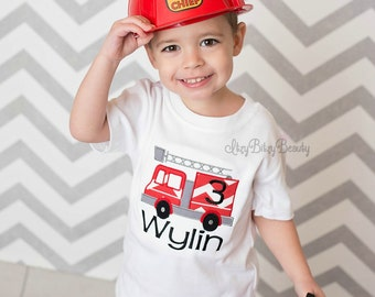 Boys Firetruck Fire Truck Birthday First Second Third Custom Personalized Name