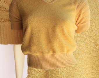 Late 70's Early 80's Vintage Yellow Terry Cloth Short Sleeve Ultra Femme Banded  Slightly Cropped Top
