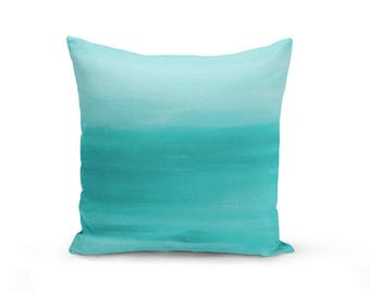 Teal Throw Pillow Cover, Decorative Pillow, Cushion Cover, Home Decor,  Ombre Teal