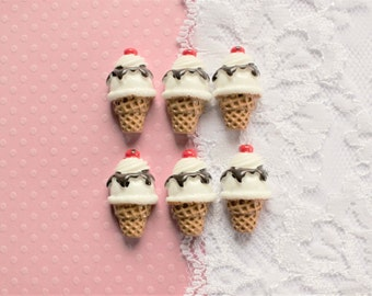 6 Pcs Vanilla Scoop Chocolate Drizzle Syrup Ice Cream Cone Cabochons - 30x20mm