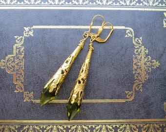 Vintage Inspired Olive Green Earrings Art Nouveau Style Filigree Jewelry Pointed Earrings Art Deco Style Elven Earrings Victorian Earrings