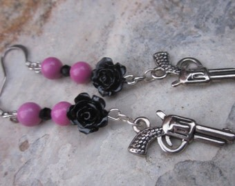 pistol earrings pink stone earrings beaded earrings silver earrings black rose flower charm earrings dangle earrings cowgirl earrings