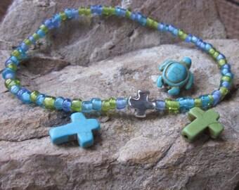 blue green beaded anklet / bracelet turquoise turtle silver cross bohemian stretch ankle bracelet yoga mens jewelry women's anklet bracelet