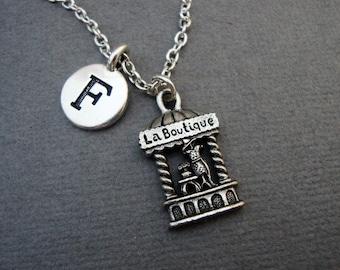 French Boutique Necklace, La Boutique Keychain, French Boutique Bangle Bracelet, Paris France Shopping Necklace, Paris Boutique Jewelry