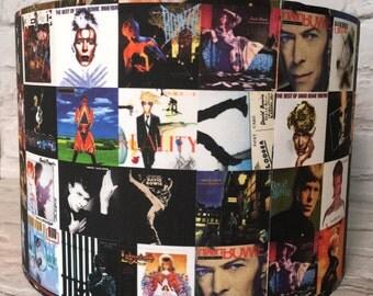 David Bowie lampshade, 15cm 20cm 30cm, Bowie albums, Bowie lampshade, present for David Bowie fan, David Bowie home
