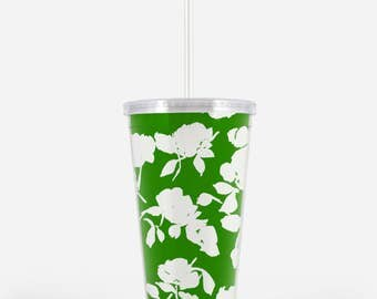 Acrylic Tumbler: Green Silhouette Floral