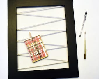 Wood Frame Memo Board with White Cord, Office Decor, Photo Display, Jewelry Holder, Organizer, Kids Art Display, Place Card Holder