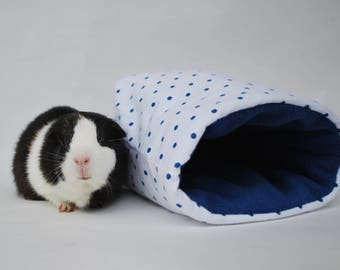 White and Blue Polka Dot Guinea Pig Snuggle Sack
