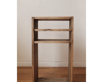 Nightstand, Side table, End table with 2 Shelves made from reclaimed wood- Walnut