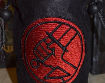 Dice Bag Hellboy Embroidery on Black Suede