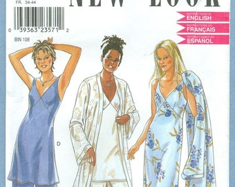 1990s Womens' Misses' Nightgown Lingerie Robe Size 6-16 (A) - Vintage Simplicity New Look Sewing Pattern 6929