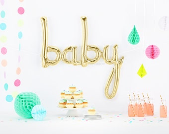 Baby Shower Balloon (White Champagne Gold) - Boy or Girl Baby Gold Cursive Letter Balloons Banner Decoration Ideas Ivory Large Jumbo Garland