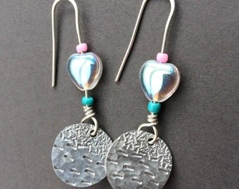Small round handmade earrings with heart bead