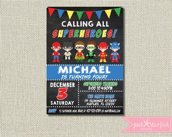 Superhero Birthday Invitation Superhero Boy Invitation