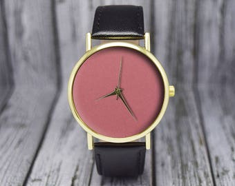 Coral Dial | Minimalist | Leather Watch | Ladies Watch | Men's Watch | Gift for Him for Her | Wedding Gift | Birthday Gift | Accessories