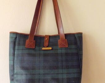 Vintage Ralph Lauren Blackwatch Plaid Wax Canvas Tote Bag_ Ralph Lauren Tartan Plaid Shopper Bag_Polo Ralph Lauren Green Plaid Lg Tote Bag