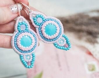 Blue Beadwork Earrings Seed Beed Earrings Bead embroidery Earring Turquoise Pink Earrings Dangle Earring Blue Pink Jewelry Sterling earrings