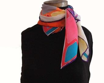 Hand painted crêpe de chine silk scarf