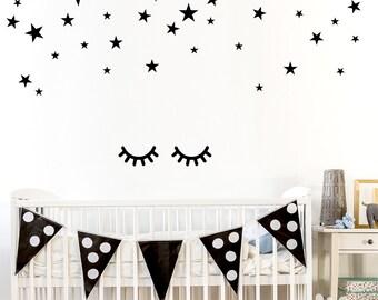 Sleepy Eyes Decal Eyelash Wall Decals Girls Bedroom Decal - Wall decals eyes