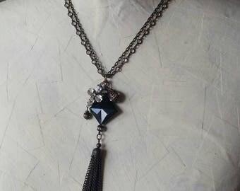 Handmade Black Onyx Pendant Necklace, Tassel Pendant Necklace, Gift for Her, Victorian Pendant Necklace, Victorian Style Necklace