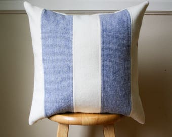 Periwinkle Light Blue and Cream Striped Pendleton Wool Pillow Cover - 18x18