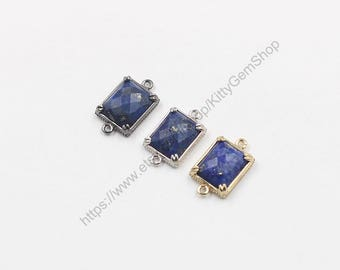 12*14mm Faceted Lapis Lazuli Connectors -- With Electroplated Gold Edge Charms Wholesale Supplies YHA-294-18