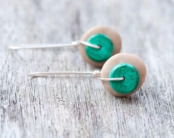 Beach Stone Earrings, Malachite Earrings, Green Stone Rustic Earrings, Earthy Earrings, Zen Earrings, Beach Pebble Earrings, Healing Stone