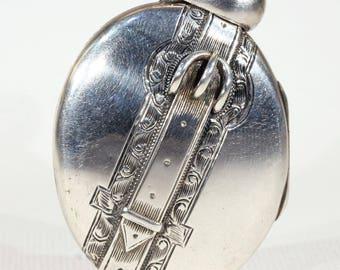 Victorian Silver Locket Buckle Motif