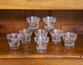 Set of Eight (8) Fred Press Glasses ~ Gold/Maple Leaves ~ Old Fashioned ~ Low Ball ~ Cocktail ~ On The Rocks ~ Mid-Century Modern ~ MCM