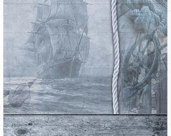 Decouage Rice Paper, Sea, Ship, Size A4, #r1041