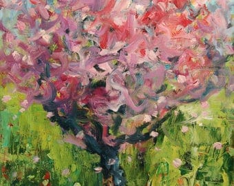 BLOSSOM TREE PAINTING Flowering Cherry Tree Spring Painting Landscape Art Colorful Modern Abstract Blossoming Tree Springtime Impressionism