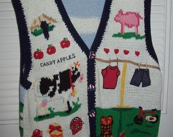 Eagles Eye Sweater Vest Country Fair Sweater ,Americana , Ice Cream, Ferris Wheel, Candy Apples Sweater, Collectors Find Size XL or 14 - 16