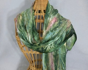 "Fringed Scarf ""Moss Green and Peach"", Hand Painted Silk/Rayon Scarf, Moss Green Scarf"