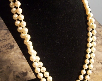 Vintage Double Strand Ivory Pearl Necklace