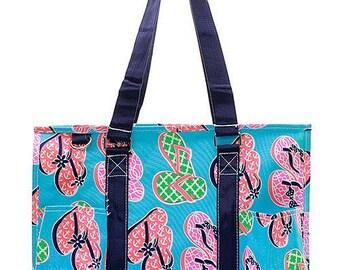 Personalized Aqua & Multi Color Flip Flops Small Zipper Top Utility Tote * Monogram Tote * Custom Beach Bag Monogrammed Name Gift 731