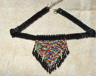 Seed bead choker, beaded choker, Native American inspired choker, Necklaces, Hand made jewelry, Tribal, Boho, Hippie