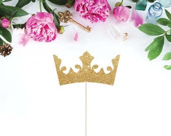 Tiara Cake Topper, Glittery Crown Cake Topper, Princess Cake Topper, Gold Crown Cake Topper, Princess Party, Prince Cake Topper