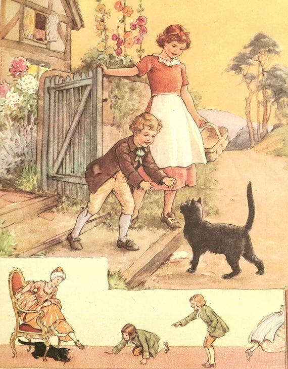 1950s children's nursery rhyme print, book illustration of Pussy Cat, Pussy Cat by Margaret Tarrant, matted and mounted, 14 x 11 inches