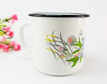 Vintage Enamel Cup BIG 1000 ml White Enamel Mug White Blue Floral Enamel Mug Soviet metal enamel mug Camping mug Enamelware Metal cup