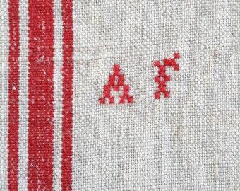 French Red striped Linen Dish Towel Tea Towel AF